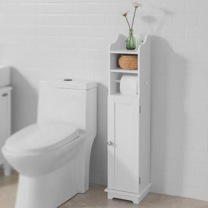 sobuy frg177 w support papier toilette armoir toilettes porte brosse wc en bois blanc achat. Black Bedroom Furniture Sets. Home Design Ideas