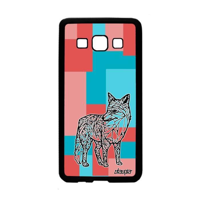 Coque Samsung A3 silicone renard azteque animaux souple telephone carré a Samsung Galaxy A3