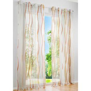 Disques rideau blanc avec marron broderie hauteur 45 cm Bistro Rideau Panneaux