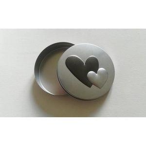 BOITE À SUCRE Boite ronde métal avec coeurs