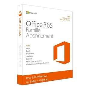 SYSTÈME D'EXPLOITATION Office 365 Famille Word-Excel- Powerpoint-Onenote-