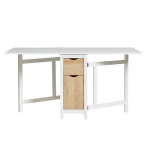 TABLE À MANGER SEULE Table de repas pliante Blanche/Bois - AXELLE - L 3