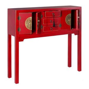 CONSOLE Console 4 portes, 3 tiroirs Rouge Meuble Chinois -