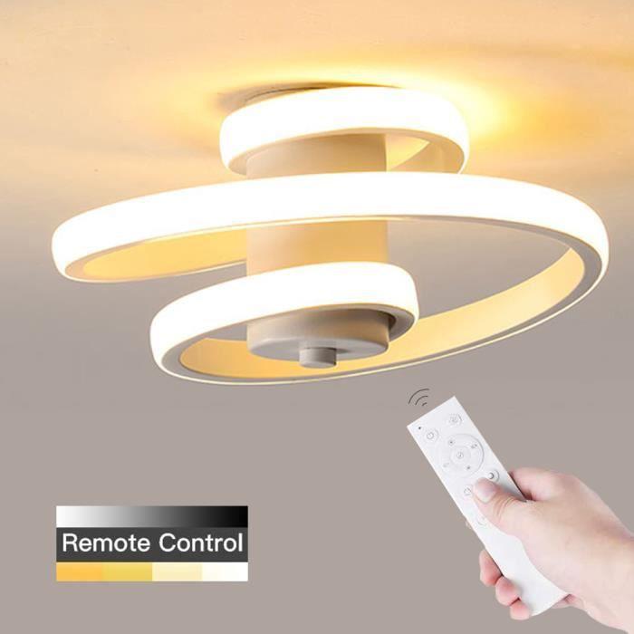 Plafonnier LED Dimmable, Plafonnier Spiral Modern Design Line 18W Idéal pour Allée, Couloir, Chambre, Hôtel, Cuisine. (Blanc)