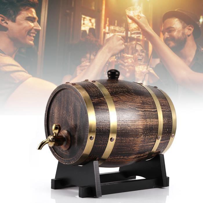 Fafeicy Vin rouge 3L Style rétro bois de chêne rouge vin Brandy Whisky Barrel Keg seau contenant avec robinet -PAS