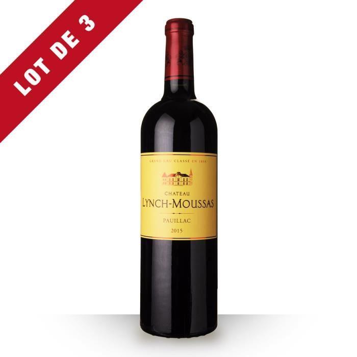 3x Château Lynch-Moussas 2015 AOC Pauillac - 3x75cl - Vin Rouge