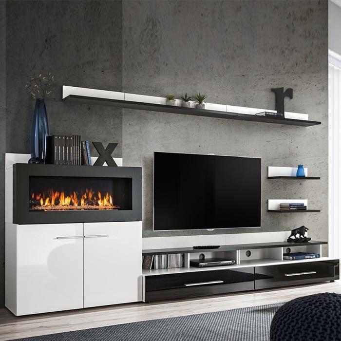 Meuble TV avec rangement et cheminée noir laqué MARTANO Blanc L 290 x P 45 x H 150 cm