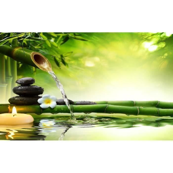Lot de 100 Stickers muraux Zen Bambous galets fleur bougie et leurs reflets dans l'eau chaque taille:100*200cm