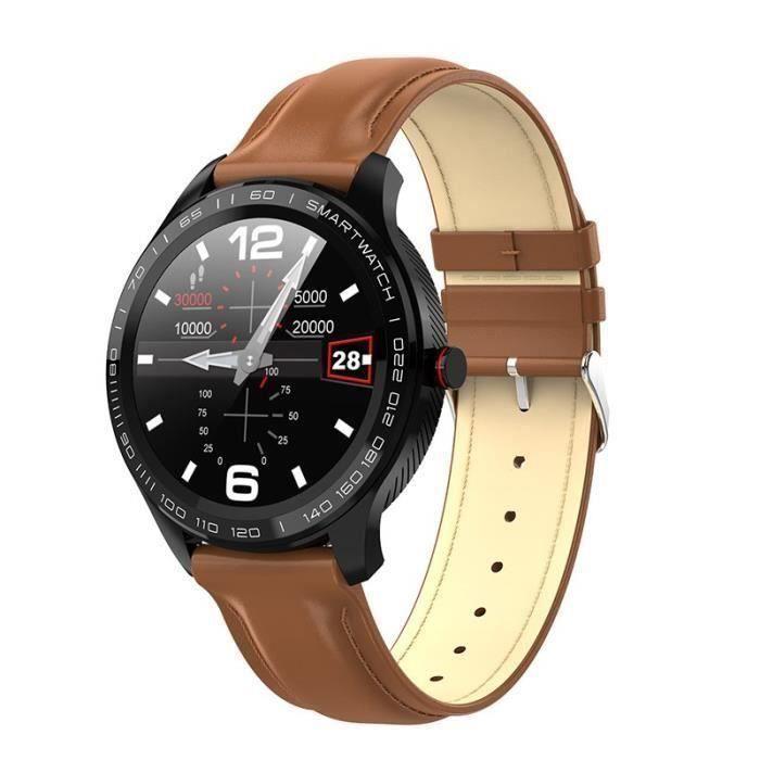 Montre Connectée Homme Étanche Bracelet Sport Multifonction PPG+ECG Fréquence Cardiaque Sommeil Caméra pour iOS Android Marron Mon