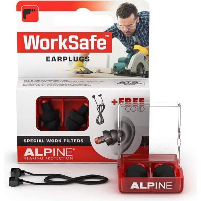 Filtres antibruit Alpine WorkSafe Bouchons d'oreille Protection auditive pour Bricolage & Travail - Boules Quies de Trav 7466