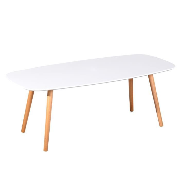 FURNISH1 Table basse en bois massif - table basse de salon blanche- 110x50x40cm Design Scandinave