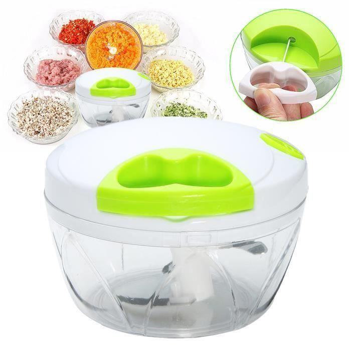 Hachoir Mixeur Manuel Fruits Légume Viande Aliments Mélangeur Batteur 3-Lame Inox. Chopper Cuisine Blanc