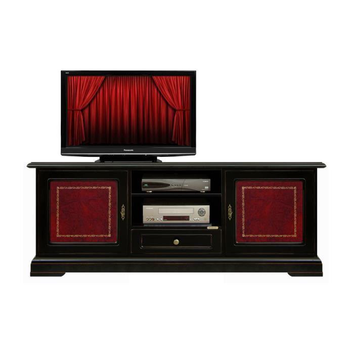 Banc tv laqué noir avec cuir bordeaux