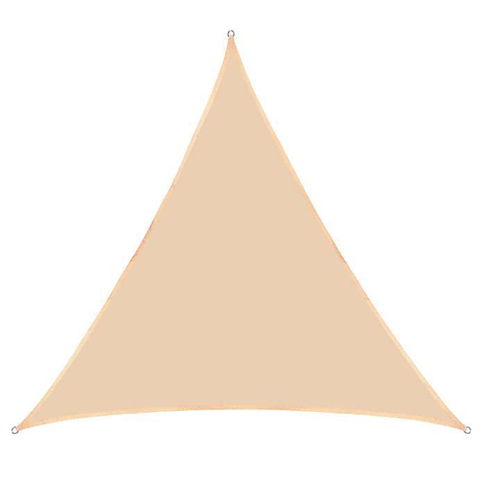 Voile d'Ombrage Triangle Imperméable Anti UV Toile Ombrage Résistant À L'Eau,Beige,3x3x3M
