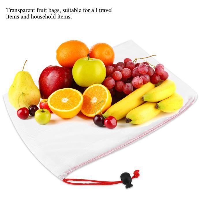 11pcs sacs de fruits maille cordon légumes réutilisables -RAC