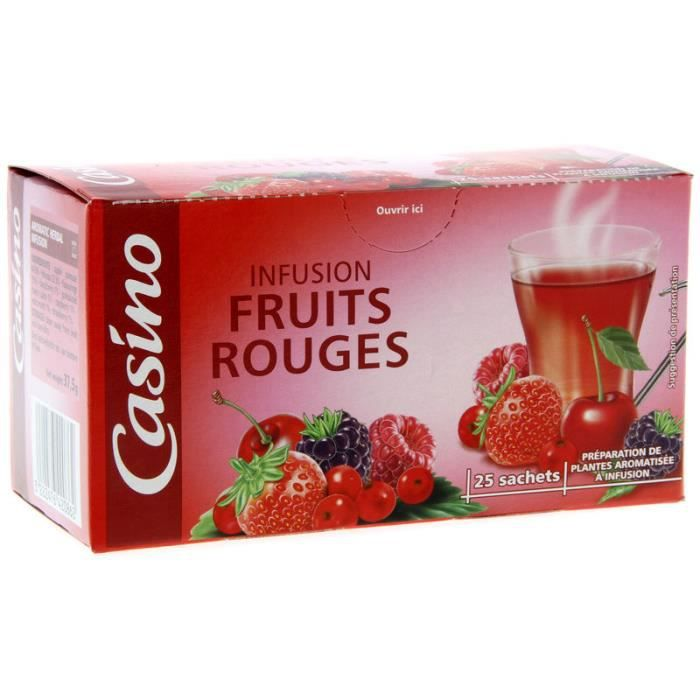 CASINO Infusion Fruits rouges - 25 sachets - 37,5 g