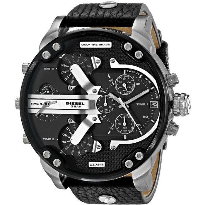 DIESEL Montre bracelet Homme DZ7313 - Chronographe - Cuir - Noir
