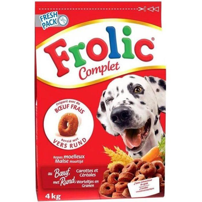 Frolic Complet Croquettes Chiens Boeuf Carottes Céréales 4Kg (lot de 2)