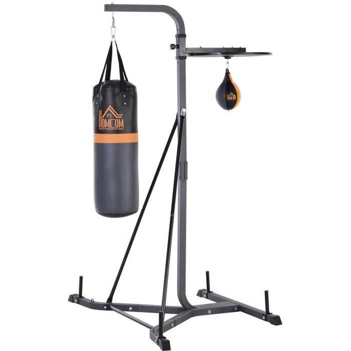 Portique sac de frappe plateforme station de boxe complète sac de frappe poire de vitesse inclus acier noir 156x140x202cm Noir
