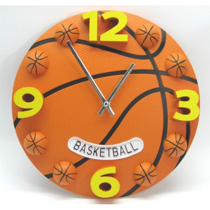 Horloge murale-Basketball-Creative style sport Basket-Ball Football Analogique décoration intérieur Souvenir Enfants Enfants 12 pouc