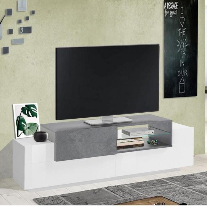 Meuble TV Bi-Color design CORO 160 cm laqué blanc brillant/bois gris ardoise blanc Inside75