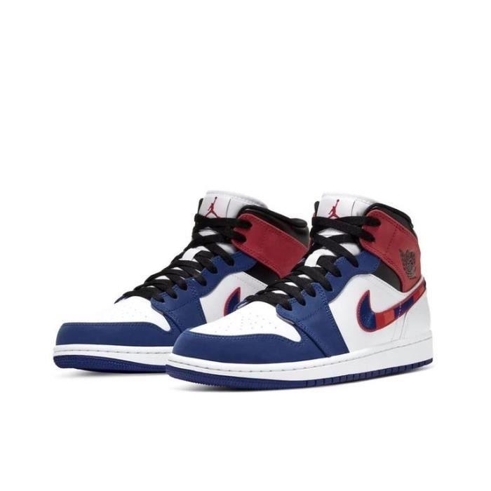 Air Jordan 1 Mid Chaussures de Sport Basket AJ 1 Pas Cher pour Homme Femme Rouge