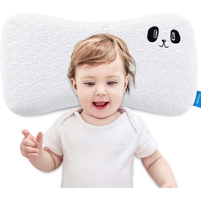 NOFFA Oreiller en mousse à mémoire de forme pour enfants, oreiller de couchage plat pour enfants avec housse lavable (2-8 ans)