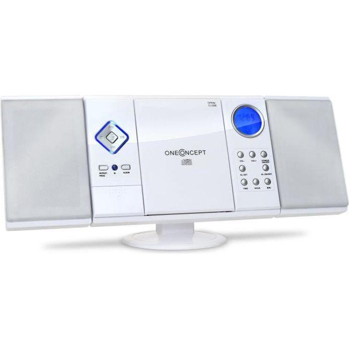 OneConcept V-12 - Chaine stéréo ultra-plate avec radio, lecteur CD-MP3 et ports USB SD (AUX, fonction réveil, AM-FM) - blanc