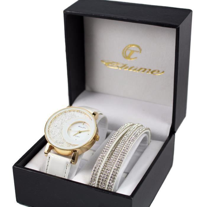 coffret montre femme doré cuir blanc strass + bracelet double tour stardust dolce vita
