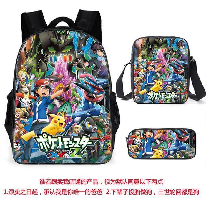 3 Pack Sac à Dos Sac d'ordinateur,Pokemon Pikachu Sac à Dos d'impression Sac à Dos Bookbag Femmes Sac porté Dos Scolaire A5