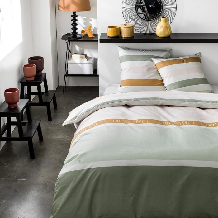 TODAY Parure de couette 100 % Coton 220x240cm SUNSHINE #3.40 - Vert et rose