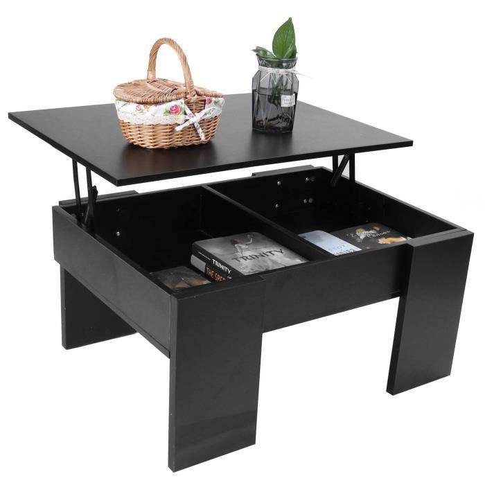 Table Basse noir Avec Plateau Relevable 80x60x40cm VGEBY YAR