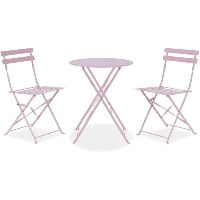 Icaverne Joli salon de jardin - ensemble table chaise fauteuil de jardin  rose pastel. dimensions table : 60 x 71 cm, ch