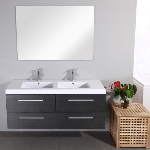 meuble double vasque 140 gris infinity achat vente. Black Bedroom Furniture Sets. Home Design Ideas