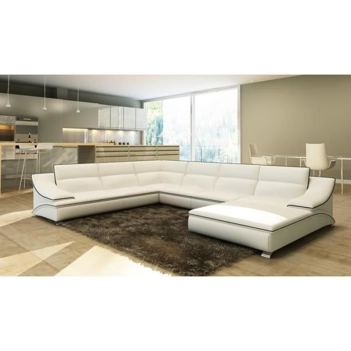 grand canap d 39 angle en cuir blanc et noir design achat vente canap sofa divan cuir. Black Bedroom Furniture Sets. Home Design Ideas