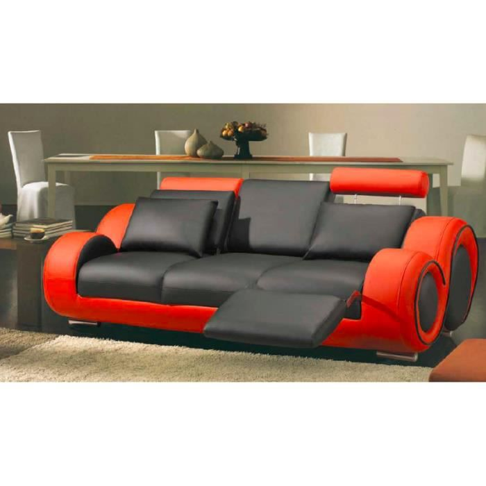 canap 3 places en cuir relax noir et rouge achat vente canap sofa divan cuir bois. Black Bedroom Furniture Sets. Home Design Ideas