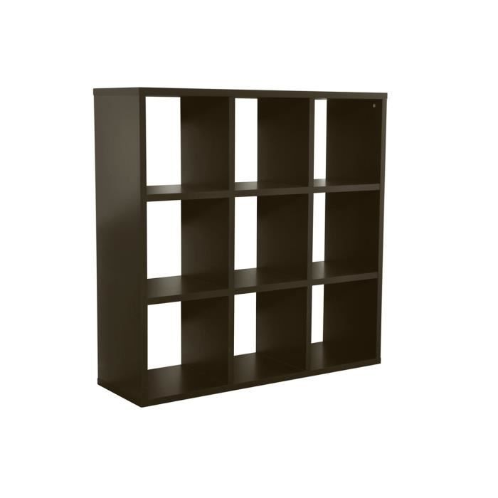 biblioth que 9 cases noir sans caissons cazy achat. Black Bedroom Furniture Sets. Home Design Ideas