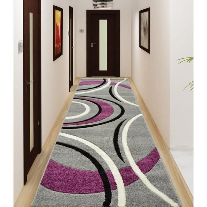 havanna tapis de couloir 80x300 cm gris violet noir achat vente tapis de couloir 100. Black Bedroom Furniture Sets. Home Design Ideas