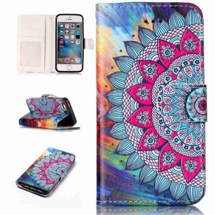 coque iphone 5s 5 se peinture fleur cuir premium p