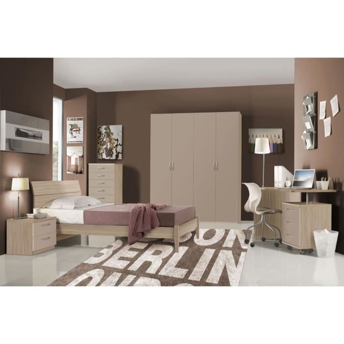 Chambre à coucher complète pour enfant HURRA lit simple 80 décor orme -  beige taupe