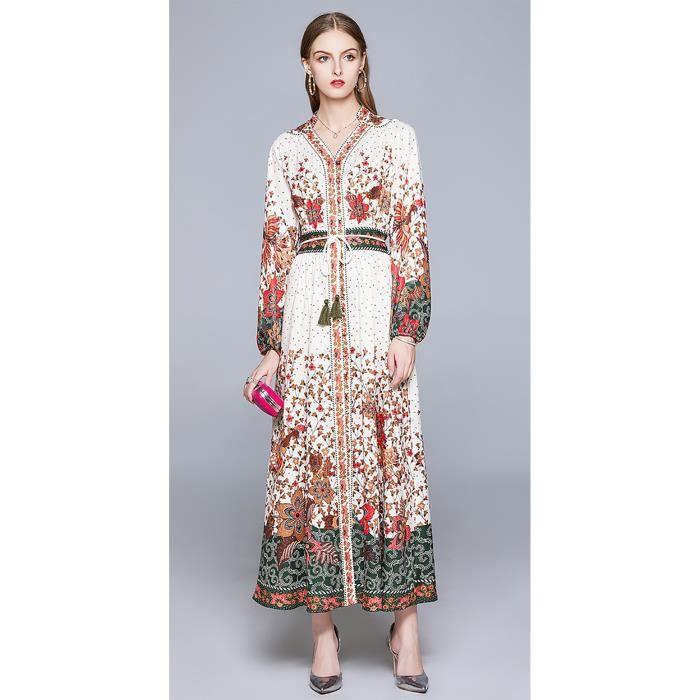 Robe Longue Pour Femmes A Manches Longues Nouveau Ete 2020 Blanc Achat Vente Robe Cdiscount