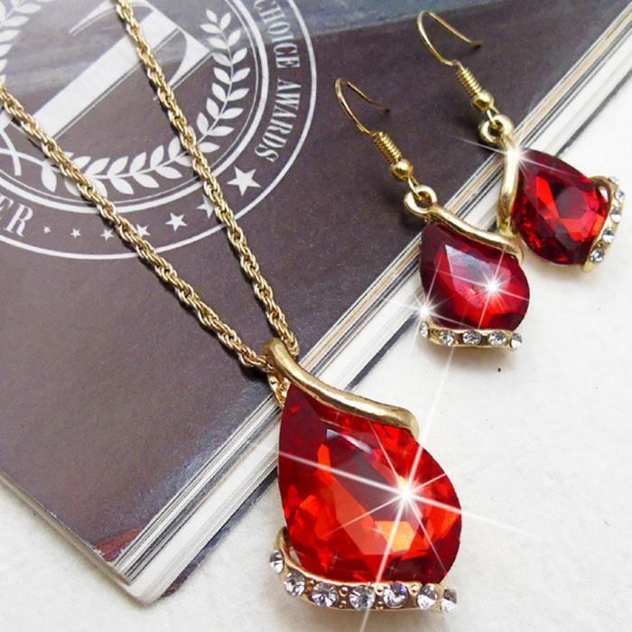 Grand 3 Ct vintage rouge cœur rubis Femmes Nickel Libre bijoux cadeau or