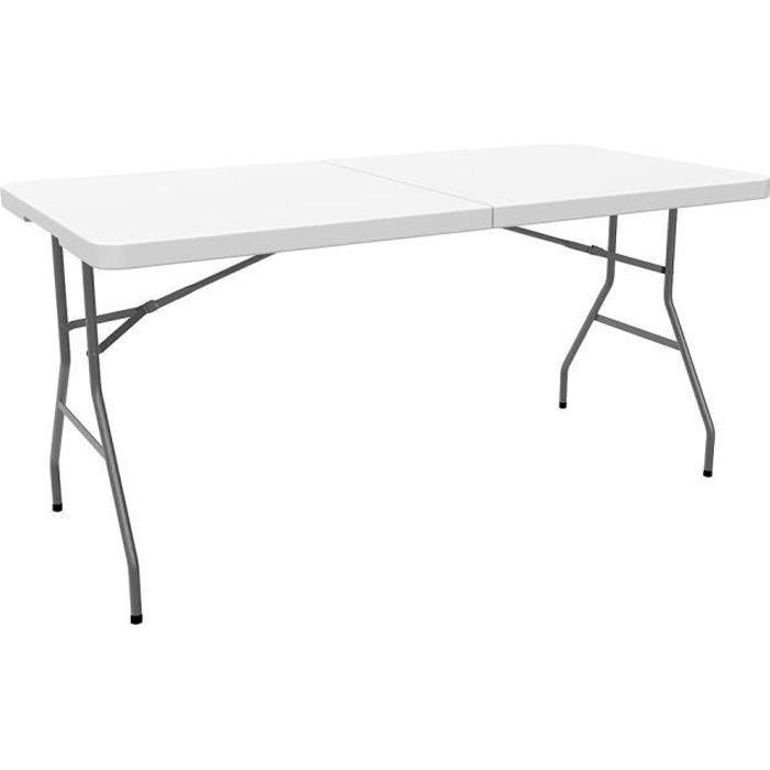 Table en Plastique Robuste, Table Pliante Transportable, 152 x 76 cm,  Blanc, Pliable en deux, Matériau: HDPE