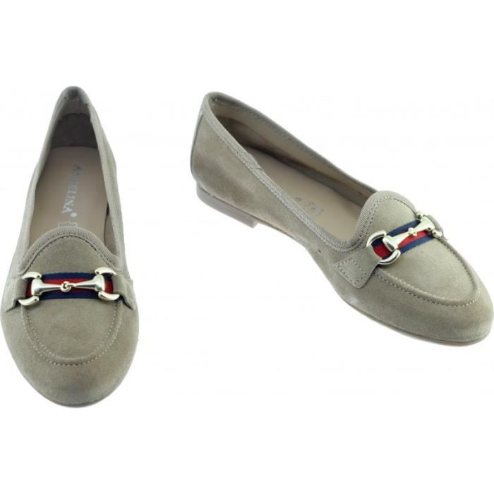 JACINTE - mocassin casual petit talon slippers chaussure femme marque Angelina fabrication Espagne cuir velours beige
