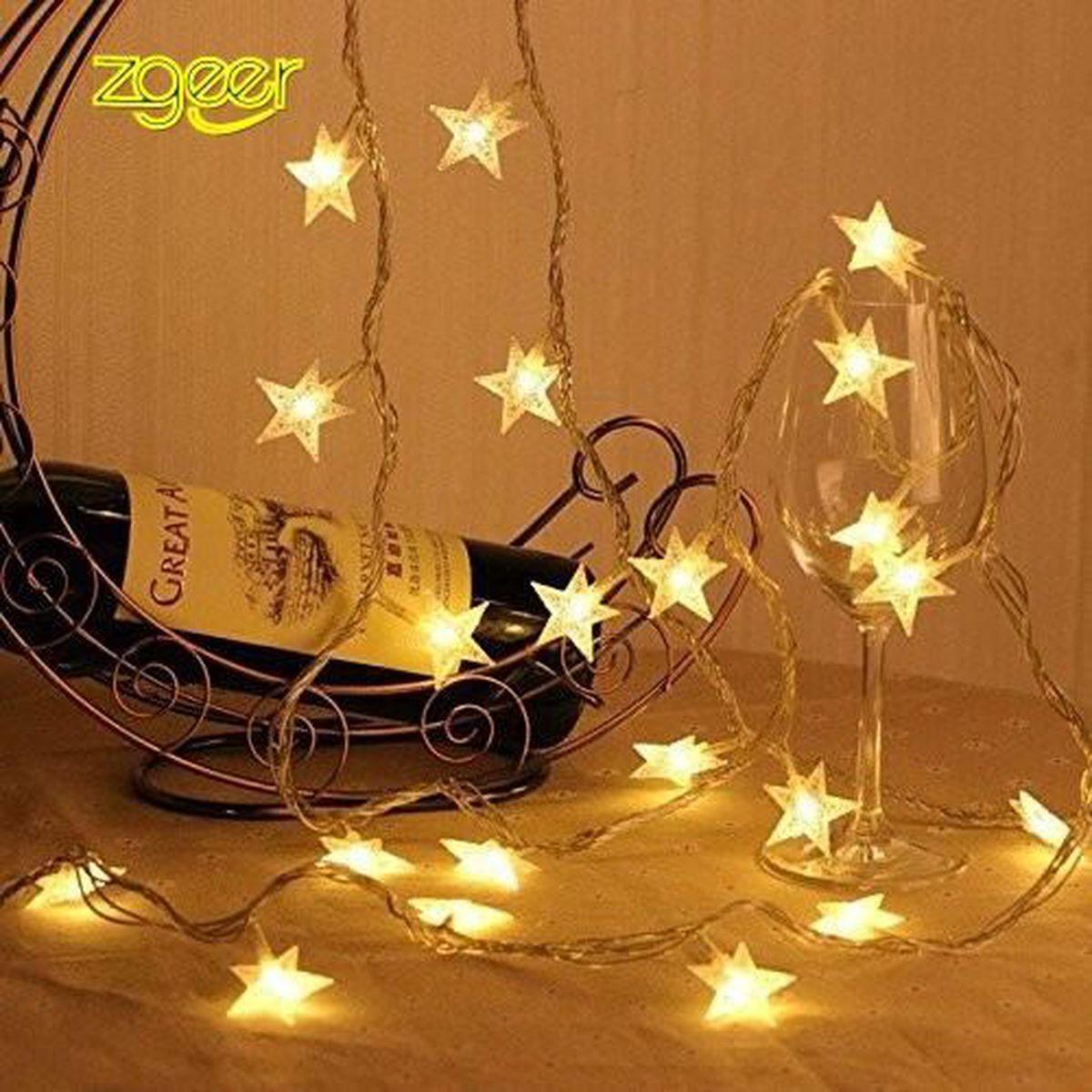 LED guirlande électrique étoiles batterie Blanc chaud 15 lampes à piles