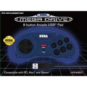 MANETTE JEUX VIDÉO Manette filaire bleue Retrobit SEGA Mega Drive Con