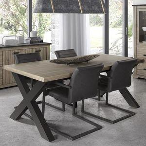 TABLE À MANGER SEULE Table 220 cm contemporaine couleur bois et anthrac