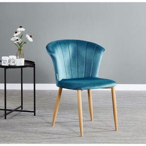 CHAISE Chaise en Velours Vintage Bleue Elsa - Salle à Man