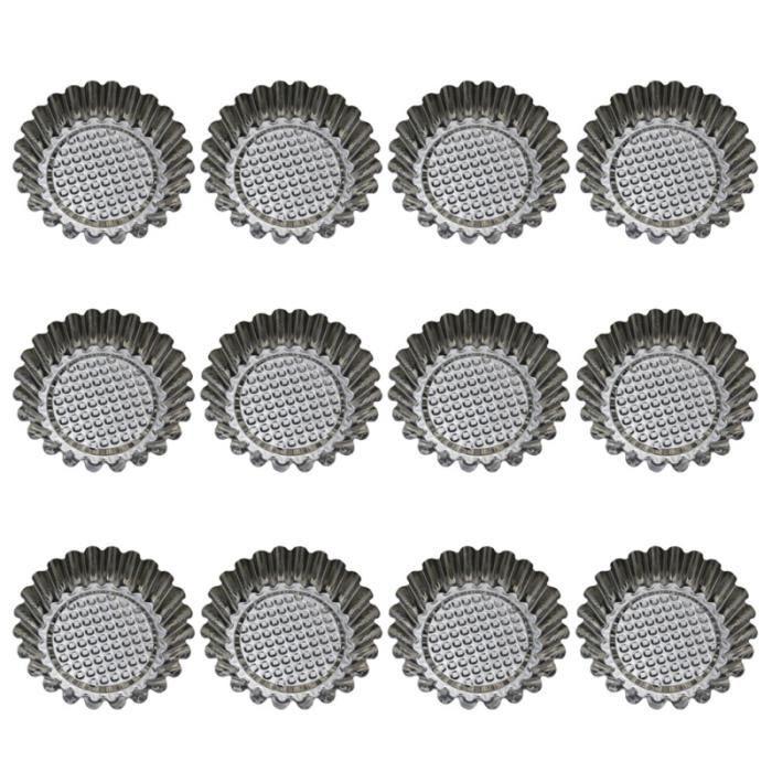 12 pièces moule à tarte aux œufs en acier inoxydable moules à tartelette ronde réutilisable MOULE A GATEAU - MOULE DE PATISSERIE