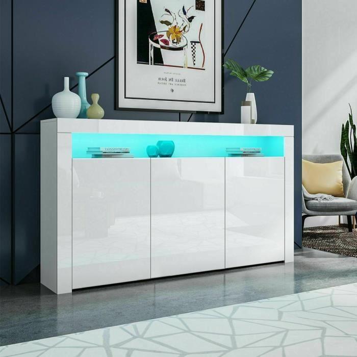 KEEP Buffet Bas Contemporain LED 130x40x88cm BLANC Laqué Brillant Avec 3 portes pour rangement